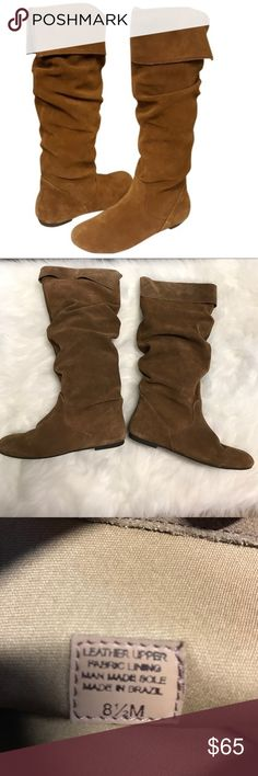 """Gianni Bini """"Jackpot"""" Tan Suede Knee-High Boots Worn once! Knee high tan boots. Size 8.5 pull on with no zipper. Super cute with an approx. .25"""" heel. Gianni Bini Shoes Over the Knee Boots"""