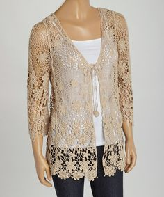 Loving this Taupe Crochet Cardigan on #zulily! #zulilyfinds