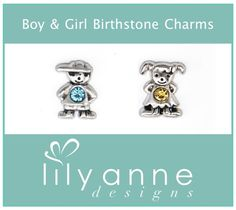 {Featured Charms of the Week!} Cute little boy and girl birthstone charms to represent your kiddos! http://www.lilyannedesigns.com.au/moniqueelliott