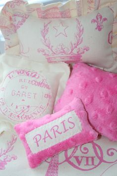 French Eiffel Tower  Ruffled Doll Bedding Set  and by Suite401, $35.00
