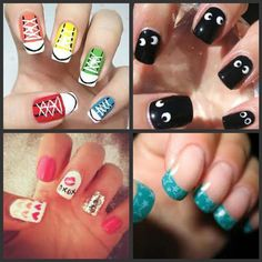whow baby, they look so cool, and the black nails look especially easy to create.