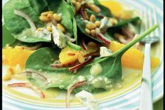 Kijk wat een lekker recept ik heb gevonden op Allerhande! Spinaziesalade met sinaasappel en blauwaderkaas