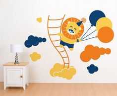 00631 Sticker Wall Stickers Wall Stickers kids wallpaper Walls Baby Nursery Rooms Children Lion in the Clouds