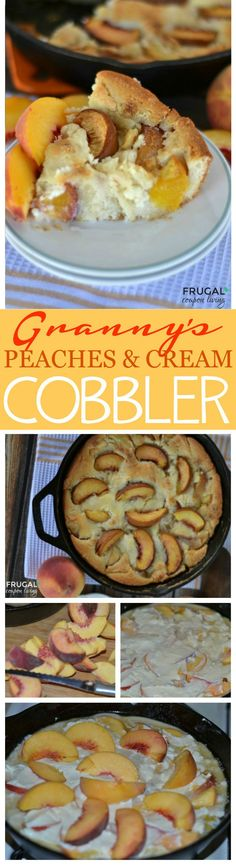 Nana's Peaches & Cream Cobbler - just like your grandma's homemade cobbler recipe. Recipe details on Frugal Coupon Living. Pin to Pinterest.