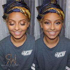 Glam session on my client @goldencleopatra for her birthday today. #makeupbyregan #promakeupartist #rvamakeupartist #rvamua #dmvmakeupartist #dmvmua #makeupartist #highlight #highlight #masterpalettebymario #anastasiabeverlyhills #makeupforblackwomen #makeupartistworldwide #richmondmua #essencemagazine #vegas_nay #slave2beauty glam