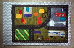 $55, READY TO SHIP in time for CHRISTMAS! Do you have a mini car and tractor lover in your family like I do?    This whimsical felt car playmat brings all of the special places and