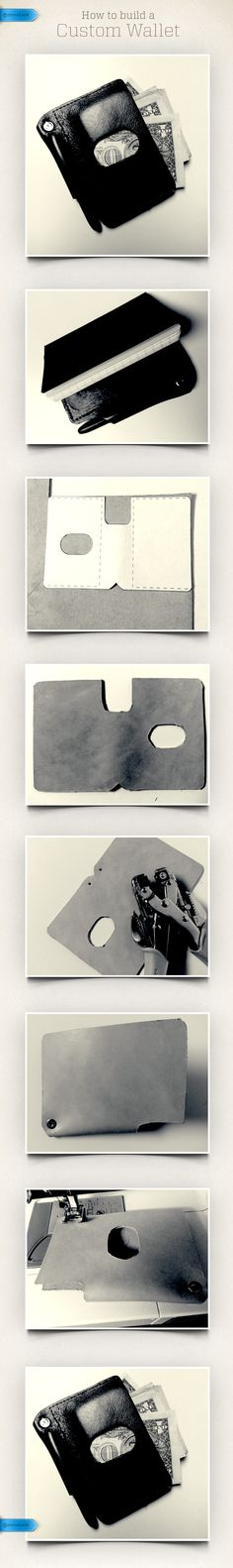 """DIY Wallet  MATERIALS: 8""""x5"""" inch piece of leather Craft punch Heavy duty needle and thread  1. Print and cut out template. 2. Trace template onto leather. 3. Cut out wallet. 4. Fold and punch a hole in bottom corner. This will hold the pen in place. 5. Sew the sides and bottom above the pen. This may take more than a standard sewing needle. 6. Include a small Moleskin notebook and you have a slim wallet that can hold all your cash, cards and notes.  Approximate Cost: $10.00"""
