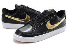 Nike Blazer Low 09 ND Leather Men Shoes Black Gold Free Shipping