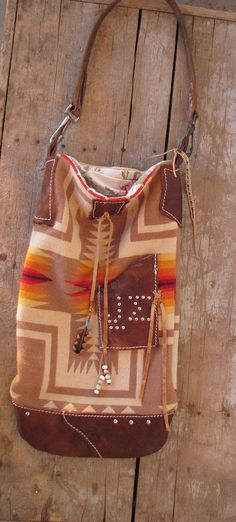 indian wool trade blanket leather hobo tote bag by fadedwest, $325.00