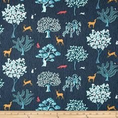 Dear Stella Enchanted Forest Multi from @fabricdotcom  For Dear Stella Designs, this cotton print fabric is perfect for quilting, apparel and home decor accents. Colors include shades of teal, tan, mauve, ivory and blue.