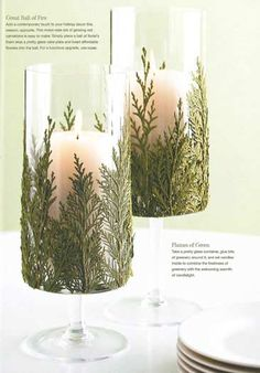 Create your own budget Christmas candle holders by gluing bits of greenery around a glass candle.