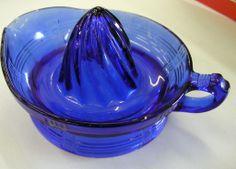 VINTAGE COBALT BLUE KITCHENWARE   Hazel Atlas Cobalt Blue Reamer Criss Cross Pattern from new-berne ...
