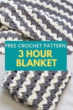 Crochet Stitches For Blankets, Easy Crochet Blanket, Blanket Yarn, Crochet Hooks, Crochet Baby, Free Crochet, Granny Square Crochet Pattern, Afghan Crochet Patterns, Crochet Afghans