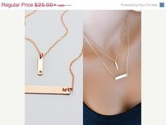 Rose Gold Bar Necklace Layered Necklace Initial by MalizBIJOUX
