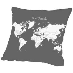 "East Urban Home Our Travels Throw Pillow Size: 16"" H x 16"" W x 2"" D, Color: Crimson"