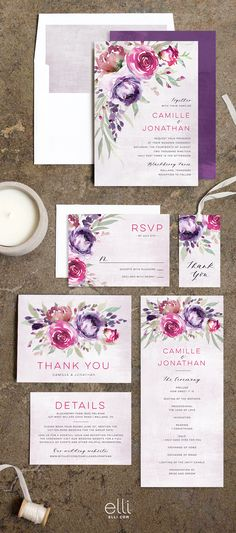 Beautiful Cascading Floral Wedding invitation suite in berry tones. Customize this design with colors to coordinate with your big day.