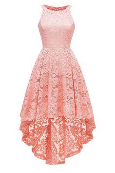 LaceShe Damen Neckholder Floral Hi-Lo Spitzenkleid - Dresses - Cute Prom Dresses, Grad Dresses, Homecoming Dresses, Teen Dresses, Dresses Dresses, Summer Dresses, Floral Dresses, Wedding Dresses, Dresses Online