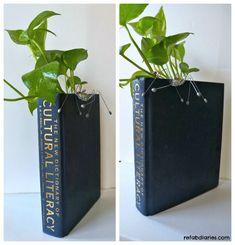 Repurpose: Old book + Used packaging = Book Planter/Vase