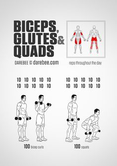 Biceps, Glutes And Quads Workout