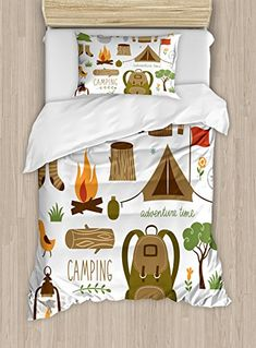 Adventure Duvet Cover Set Twin Size by Ambesonne, Camping Equipment Sleeping Bag Boots Campfire Shovel Hatchet Log Artwork Print, Decorative 2 Piece Bedding Set with 1 Pillow Sham, Multicolor.