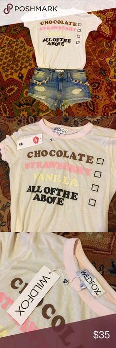 🍒WILDFOX🍒 Ice Cream Flavour Tee size Small New with tags, super soft, size small tee by WILDFOX 🍦🍦🍦 Wildfox Tops Tees - Short Sleeve