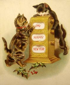 Kittens with Slot Machine Vintage New Year Postcard Vintage Happy New Year, Happy New Year Cards, New Year Greeting Cards, Happy New Year 2019, New Year Greetings, Vintage Greeting Cards, Vintage Christmas Cards, Retro Christmas, Christmas Cats