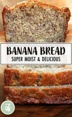 This is the best banana bread — I got the recipe from a college friend's mother, who brought the bread to every lacrosse game. We devoured this bread — it is super moist, perfectly sweet, and always was first to disappear from the dessert buffet. Buffet Dessert, Dessert Bread, Delicious Desserts, Dessert Recipes, Yummy Food, Pudding Recipes, Banana Nut Bread, Super Moist Banana Bread, Banana Walnut Bread Moist
