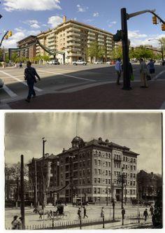 The northwest corner of the intersection of South Temple and State Street is seen in two different pictures. The top from is from May 20, 2014 while the bottom frame is most likely from the late 1890s.