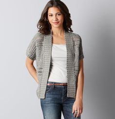 Open Stitch Short Sleeve Cardigan.  Pretty and versatile layering piece once Spring arrives.
