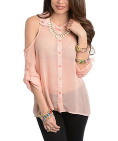 This Peach Shoulder-Cutout Button-Up Top is perfect! #zulilyfinds