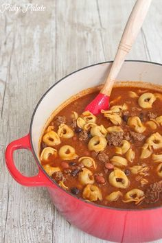 Chili Tortellini... Winter comfort food with a big spinach salad and homemade bread or biscuits.