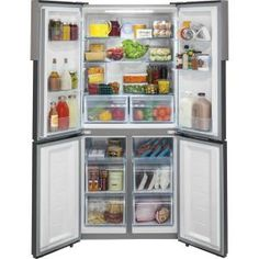Haier 33 in. W cu. Quad French Door Freezer Refrigerator in Stainless - The Home Depot Counter Depth Refrigerator, Bottom Freezer Refrigerator, Side By Side Refrigerator, Stainless Steel Refrigerator, Kitchen Appliances Brands, Commercial Appliances, Lac Saint Jean, Stainless Steel Counters, Dreams