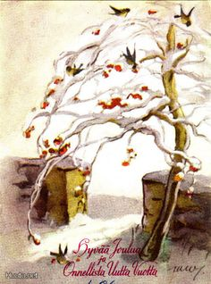 Martta Wendelin Childrens Christmas, Christmas Art, Winter Solstice, Yule, Martini, Illustrators, Postcards, Scandinavian, Birds