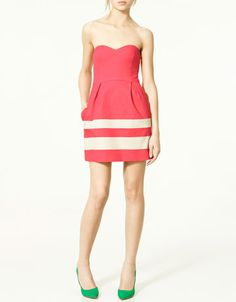Strapless Dress - love these colours together. They make me think of watermelon Sweetheart Dress, Zara Dresses, Dress Collection, Cool Outfits, Strapless Dress, Dress Up, Summer Dresses, My Style, Fashion Design
