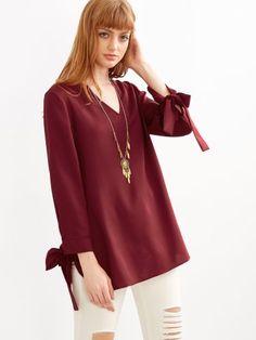 Burgundy V Neck Tie Sleeve Blouse