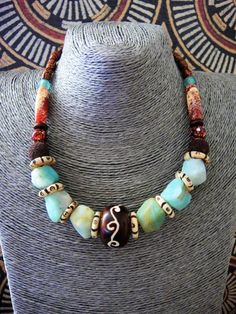 Tribal Jewelry Ethnic Bone Necklace Stone Beads by ElPourElle