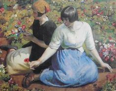 Harold Harvey: Recogiendo flores. Arte Campestre