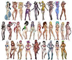 League of Legends Swimsuit Edition X by ~Chakrahn on deviantART   From left to right: Top: Ahri, Miss Fortune, Janna, Syndra, Leblanc, Orianna, Elise, Eve, Riven MId: Diana, Fiora, Katarina, Akali, Morgana, Irelia, Nidalee, Kayle, Sona, Lux, Shyvana Bot: Ashe, Leona, VI, Caitlyn, Zyra, Vayne, Sejuani, Sivir, Cassiopeia Jungle: ......jk