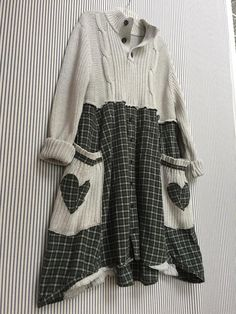 """Upcycled Thick Chunky Cotton Cable Knit Sweater Dress , Color Palette is Muted Dusty Grey Gray And green This is a High Quality Fishermen's 100% Cotton Sweater """"GAP"""" Brand Nice Thick Eddie Bauer Brand Plaid Flannel Shirt Almost All Rough edges are surged on both Sweater and the"""