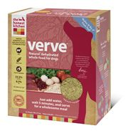Verve is made with USDA hormone-free beef and organic rye. Like all of our diets, it's 100% human-grade, made in the USA, and does not contain corn, soy, rice, beet pulp or wheat. Just add water for a fresh, wholesome and human grade meal.