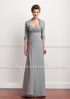 Grey Chiffon Mother of the Bride Dress with Scattered Beads