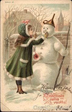 Snow is will soon be falling and snowmen will start to line the streets.  #vintage #postcards