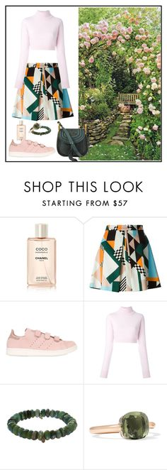 """Pink and dark Green"" by roberta-abm ❤ liked on Polyvore featuring Chanel, MSGM, adidas Originals, Balmain, Sydney Evan, Pomellato, Chloé and vintage"