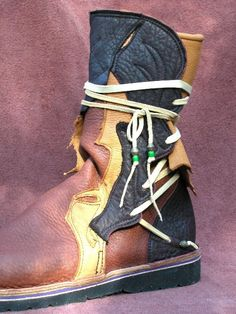 Leather Boots Handmade Shoes - Black Tan Brown Buffalo Raggedy Hide, Custom Made Size 5, 6, 7, 8, 9, 10