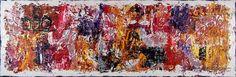Village I 50x150 cm 2.299 dkk - Art by Lønfeldt -  original abstract painting, modern textured art, colorful