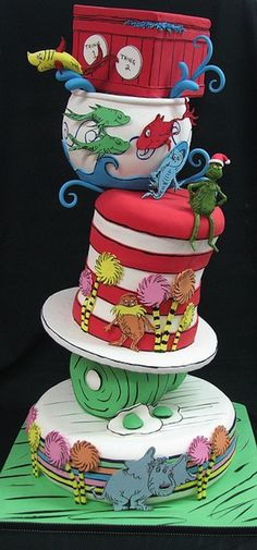 "Dr. Seuss Cake. Part of a gallery of ""24 Incredible Cakes Inspired By Books."" This is totally awesome. Be sure to check the rest of the gallery."