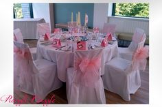 Baby Pink Sash with White Chair Covers