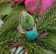 Blue & Green Turquoise Ring 925 Silver Two In One Ring Wedding Ring Promise Ring Gypsy Rings, Bohemian Rings, Turquoise Gemstone, Green Turquoise, Blue Green, Bridesmaid Rings, Jewelry For Her, Delicate Rings, Sterling Silver Rings