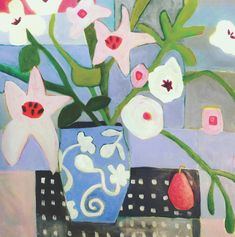 Expressive bold, & colorful landscape, floral & abstract paintings in oil & acrylic by Annie O'Brien Gonzales. Colorful abstracted paintings using mixed media including collage, pencil, acrylic and oil paint. Contemporary Abstract Art, Abstract Landscape, Contemporary Artists, Guache, Still Life Art, Abstract Flowers, Print Artist, Art Floral, Painting Inspiration