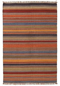 Ooty Stripe Indian Kilim rug 180 x > Pure Wool & Cotton Kilim Rugs > Rugs > Home Furnishings > Namaste Fair Trade > Namaste-UK Ltd Sala Indiana, Rug Under Dining Table, Dining Room, Asian Rugs, Ooty, Chinese Furniture, Moroccan Decor, Natural Rug, Contemporary Rugs